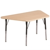 """30""""x60"""" Trapezoid T-Mold Activity Table, Maple/Maple/Black/Toddler Swivel"""