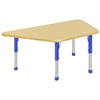 "30""x60"" Trapezoid T-Mold Activity Table, Maple/Maple/Blue/Chunky"