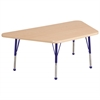 "30""x60"" Trapezoid T-Mold Activity Table, Maple/Maple/Blue/Standard Ball"