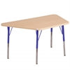 "30""x60"" Trapezoid T-Mold Activity Table, Maple/Maple/Blue/Standard Swivel"