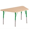 "30""x60"" Trapezoid T-Mold Activity Table, Maple/Maple/Green/Standard Swivel"