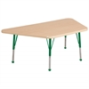 "30""x60"" Trapezoid T-Mold Activity Table, Maple/Maple/Green/Toddler Ball"