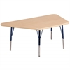 "30""x60"" Trapezoid T-Mold Activity Table, Maple/Maple/Navy/Toddler Swivel"