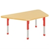 "30""x60"" Trapezoid T-Mold Activity Table, Maple/Maple/Red/Chunky"