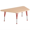 "30""x60"" Trapezoid T-Mold Activity Table, Maple/Maple/Red/Toddler Ball"