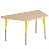 "30""x60"" Trapezoid T-Mold Activity Table, Maple/Maple/Yellow/Standard Swivel"