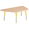 "30""x60"" Trapezoid T-Mold Activity Table, Maple/Maple/Yellow/Toddler Ball"