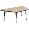 "30""x60"" Trapezoid T-Mold Activity Table, Maple/Navy/Standard Ball"