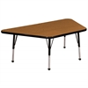 "30""x60"" Trapezoid T-Mold Activity Table, Oak/Black/Standard Ball"