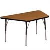 "30""x60"" Trapezoid T-Mold Activity Table, Oak/Black/Standard Swivel"