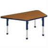 "30""x60"" Trapezoid T-Mold Activity Table, Oak/Navy/Chunky"