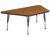 "30""x60"" Trapezoid T-Mold Activity Table, Oak/Navy/Standard Ball"