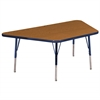 "30""x60"" Trapezoid T-Mold Activity Table, Oak/Navy/Standard Swivel"