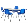 ECR4Kids Half Moon Table Grey/Blue-Standard Swivel