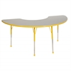 "36""x72"" Half Moon T-Mold Activity Table, Grey/Yellow/Standard Ball"