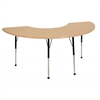 "36""x72"" Half Moon T-Mold Activity Table, Maple/Maple/Black/Standard Ball"