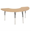 "36""x72"" Half Moon T-Mold Activity Table, Maple/Maple/Black/Standard Swivel"