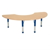 "36""x72"" Half Moon T-Mold Activity Table, Maple/Maple/Blue/Chunky"