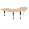 """36""""x72"""" Half Moon T-Mold Activity Table, Maple/Maple/Blue/Chunky"""