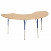"36""x72"" Half Moon T-Mold Activity Table, Maple/Maple/Blue/Toddler Swivel"