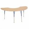 "36""x72"" Half Moon T-Mold Activity Table, Maple/Maple/Blue/Toddler Swivel"