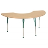 "36""x72"" Half Moon T-Mold Activity Table, Maple/Maple/Green/Toddler Ball"