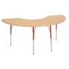 "36""x72"" Half Moon T-Mold Activity Table, Maple/Maple/Red/Toddler Swivel"