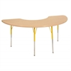 "36""x72"" Half Moon T-Mold Activity Table, Maple/Maple/Yellow/Standard Swivel"