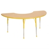 "36""x72"" Half Moon T-Mold Activity Table, Maple/Yellow/Toddler Ball"