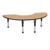 "36""x72"" Half Moon T-Mold Activity Table, Oak/Navy/Chunky"