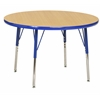 "30"" Round T-Mold Activity Table, Maple/Blue/Standard Swivel"