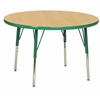 "30"" Round T-Mold Activity Table, Maple/Green/Standard Swivel"