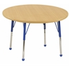 "30"" Round T-Mold Activity Table, Maple/Maple/Blue/Standard Ball"