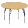 "30"" Round T-Mold Activity Table, Maple/Maple/Blue/Standard Swivel"