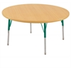 "30"" Round T-Mold Activity Table, Maple/Maple/Green/Standard Swivel"