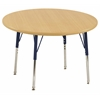 "30"" Round T-Mold Activity Table, Maple/Maple/Navy/Standard Swivel"