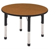 "ECR4Kids 30"" Round Table Oak/Black-Chunky"