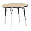 "30"" Round T-Mold Activity Table, Oak/Black/Standard Swivel"