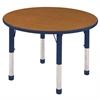 """30"""" Round T-Mold Activity Table, Oak/Navy/Chunky"""