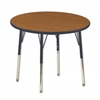 "30"" Round T-Mold Activity Table, Oak/Navy/Standard Swivel"