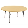 "60"" Round T-Mold Activity Table, Maple/Maple/Black/Standard Ball"