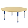 "60"" Round T-Mold Activity Table, Maple/Maple/Blue/Chunky"