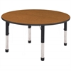 "60"" Round T-Mold Activity Table, Oak/Black/Chunky"