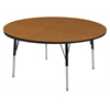 "60"" Round T-Mold Activity Table, Oak/Black/Toddler Swivel"