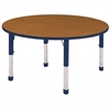 "60"" Round T-Mold Activity Table, Oak/Navy/Chunky"