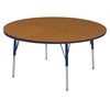 "60"" Round T-Mold Activity Table, Oak/Navy/Standard Swivel"