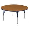 "60"" Round T-Mold Activity Table, Oak/Navy/Toddler Swivel"