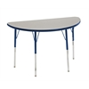 "24""x48"" Half Round T-Mold Activity Table, Grey/Navy/Toddler Swivel"