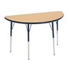 "24""x48"" Half Round T-Mold Activity Table, Maple/Navy/Standard Swivel"
