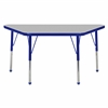 "24""x48"" Trapezoid T-Mold Activity Table, Grey/Blue/Toddler Ball"